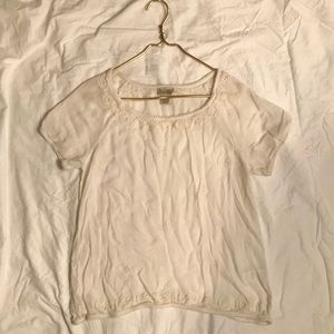 Lucky Brand Cream Short Sleeve Blouse